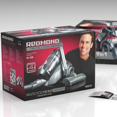 REDMOND 1600W Multicyclone (8+1) HEPA filter, bagless Dry Vacuum Cleaner (Metallic)