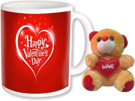 PhotogiftsIndia Happy Valentine Day With Teddy 12 Ceramic Gift Box