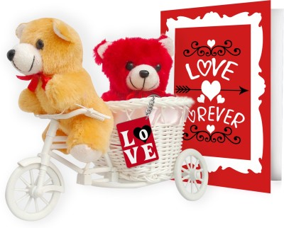 Tiedribbons expression of love gift set Valentine Gift Set. This gift set contains 2 Teddy, 1 Cycle, 1 keychain and 1 Card.