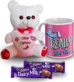 SKY TRENDS SKY TRENDS I Really Love You Mug Teddy and Chocolate Valentine Gift Set Valentine Gift Set