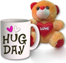 Photogiftsindia Hug Day Coffee Mug And Teddy Chocolate Combo Valentine Gift Set