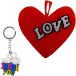 Bigcart Red Heart Cushion & Love Key Chain Gift Set