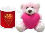 HomeSoGood Sparkling Valentine's Day Coffee Mug With Teddy Valentine Gift Set Valentine Gift Set