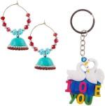 Bigcart Baali Jhumka & Love Heart Key Chain Gift Set