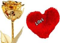 Swiss Rock Real Golden Rose & Heart Valentine Gift Set