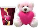 HomeSoGood Valentine's Day Floral Art Coffee Mug With Teddy Valentine Gift Set Valentine Gift Set