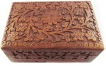 Pindia Vanity Boxes Pindia Beautiful Top Carved Designer Rectangle Small Jewellery Vanity Case