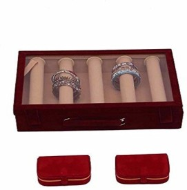 Kuber Industries 5 Rods Transparent Bangle Organizer Box & Ring & Earing Box in Velvet Coated Storage (3 Pcs Set) Make Up Vanity Jewellery