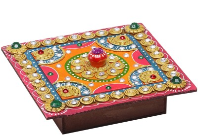 Aapno Rajasthan Vanity Boxes Aapno Rajasthan Square Hand Painted Decorative Wood And Clay Work Box Jewellery Vanity Multi Purpose