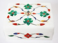 Vincy Italian Marble Box With Inlaid Semi Precious Stones Multi Purpose, Small Jewellery, Make Up, Acessories Vanity Jewellery, Makeup, Multi Purpose (White Base, Multi Colour Inlaid Stone Work)