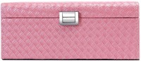 Uberlyfe Double Level Candy Pink With Cross Weave Pattern Jewellery Box Vanity Multi Purpose (Pink)