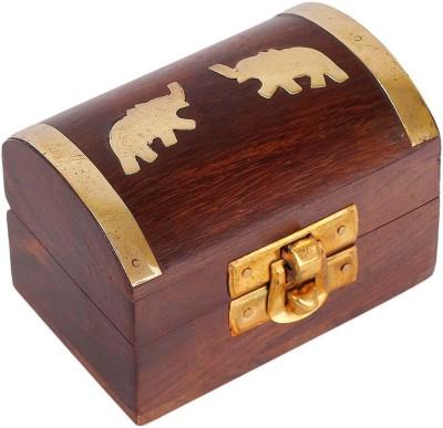 Craft Art India Vanity Boxes Craft Art India Handmade Wooden Jewellery Storage Box With Embossed Brass Elephant Jewellery Vanity Multi Purpose