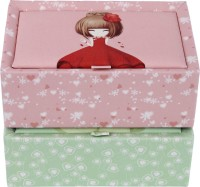 Uberlyfe Set Of 2 Pretty Little Girl Pink & Green Jewellery Box Vanity Multi Purpose (Pink, Green)