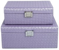 Uberlyfe Set Of 2 Double Level Cross Weave Pattern Jewellery Box Vanity Multi Purpose (Purple)