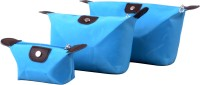 Styler Leather Look Pouch Set Of 3 Fashion Vanity Multi Purpose (Blue)