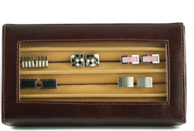 GoGappa Posh Leather Cuff Link Display Case - Brown Jewellery Vanity Case Brown