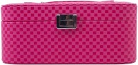 Uberlyfe Double Level Pink Checks Jewellery Box Vanity Multi Purpose (Pink)