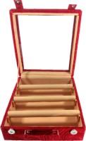 Addyz Jewelry Bangle Box Transparency-3 Rods Jewelry Storage Vanity Box (Maroon)