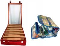 ADDYZ Combo Of 5 Rod Bangle Box And Cosmetic Bag Jewellery Vanity Case (Maroon, Blue)