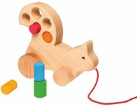 Grimm's Spiel And Holz Design Wooden Squirrel Pull Along Multi-Use Toddler Toy With Size-Sorting Blocks (Multicolor)