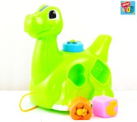 Mera Toy Shop Pull Along Dino With Bricks (Multicolor)