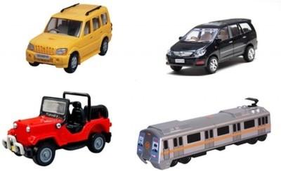 A R Enterprises Scorpio, Innova, Jeep And Metro Train Combo Of 4 Vehicles (Multicolor)