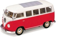 Maisto Power Kruzerz 4.5 Inch Pull Back Action - Volkswagen Van Samba Diecast Model Car (Red&White)