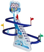 Zaprap Blue & White Plastic Jolly Penguin Track Race Set For Kids (multicolor)