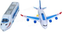 Turban Toys Combo Of Colorful Musical Plane & Musical Train Bump And Go With Lights (Multicolor)
