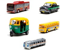 A R Enterprises City Bus, Ambassador Taxi, Cng Auto Rikshaw, School Bus And Metro Train Combo Of 5 (Multicolor)