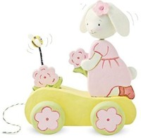 Bunnies By The Bay Blossom's Blooming Wooden Pull Toy, Pink (Discontinued By Manufacturer) (Multicolor)