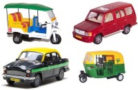 A R Enterprises Combo Of Commercial Vehicles Auto Rickshaw, Taxi, Tuk Tuk Rickshaw, Qualis (Multicolor)