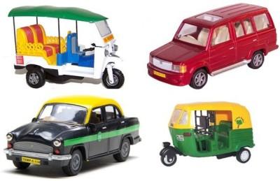 A R Enterprises Combo Of Commercial Vehicles Auto Rickshaw, Taxi, Tuk Tuk Rickshaw, Qualis (Multicolor)