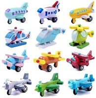 Generic Wooden Mini Airplane Models Kit Wood Plane Baby Learning Education Toys Gifts For Children Kids 12Pcs/Set (Multicolor)