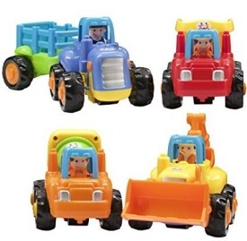 Techege Toys Happy Engineeringfriction Powered Kids Tractor Dump Truck