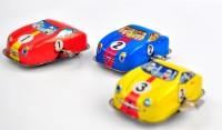 Karmakara Set Of 3 Tin Rally Toy Cars Retro Race Cars Collectible Nostalgic Wind-up Toys (black)