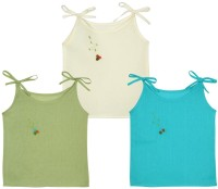 Snuggles Solid Color Tie Up Top Baby Girl's Vest (Pack Of 3)