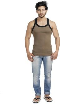 Euro Fashion GYM-LIGHT BROWN-BLACK Men's Vest