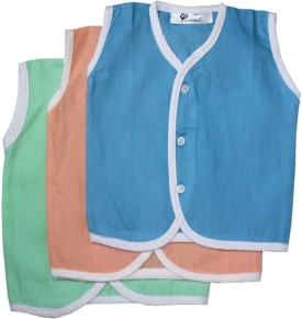 Cherish Maternity Overlap Front Button Baby Girl's Vest Pack Of 3