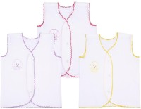 Snuggles Front Open Jhabla Baby Girl's Vest (Pack Of 3)