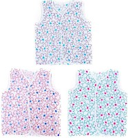 This N That Flower Printed Jabla Set Of 3 Baby Girl's Vest (Pack Of 3)