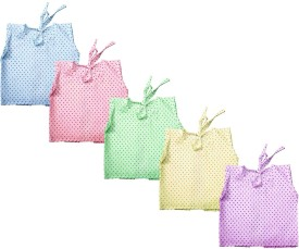 Cherish Maternity Dotted Back Tie Jabla Baby Girl's Vest Pack Of 5