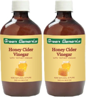 Green Elements Honey Cider (Raw, Unprocessed and Unrefined) with the Mother Vinegar 1000 ml(Pack of 2) low price