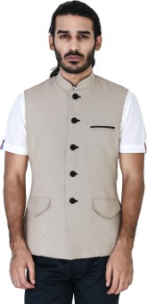 Mr Button Beige Dobby Cotton Nehru With Black Button Solid Men's Waistcoat