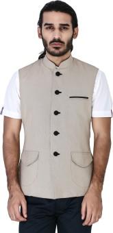 Mr Button Beige Dobby Cotton Nehru With Black Button Solid Men's Waistcoat