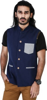 Mr Button Navy Blue Linen Nehru Jacket With Stripe Patch Pocket Solid Men's Waistcoat