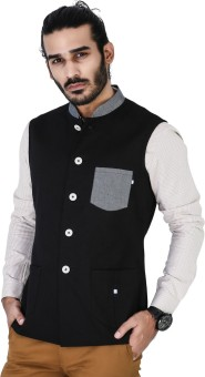 Mr Button Black Linen Nehru Jacket With Denim Linen Collar Solid Men's Waistcoat