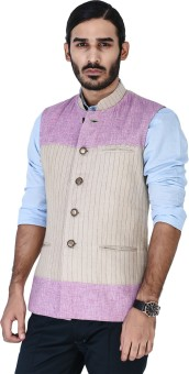 Mr Button Beige Hamp Nehru Jacket With Lavender Yoke Detail Solid Men's Waistcoat