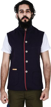 Mr Button Purple Cotton Nehru Jacket With Tape Detail Solid Men's Waistcoat