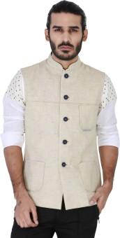 Mr Button Beige Textured Linen Nehru Jacket With Pinteck Detail Solid Men's Waistcoat